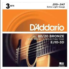 PACK 3 ENCORD. VIOLÃO BRONZE 80/20 010 - DADARIO EJ10-3D